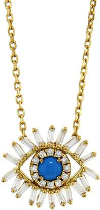 Suzanne Kalan Mini Mixed Diamond Turquoise Evil Eye Necklace - Yellow Gold