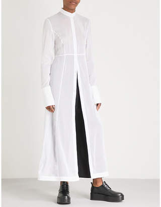 Isabel Benenato Longline cotton and silk-blend shirt dress