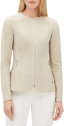 Lafayette 148 New York Janella Long-Sleeve Zip-Front Fundamental Bi-Stretch Jacket