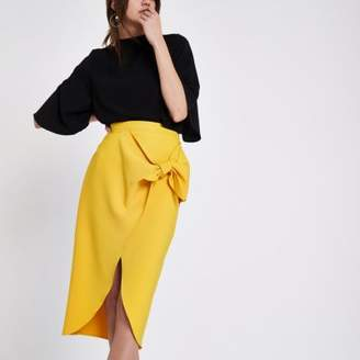 River Island Womens Mustard yellow tie front pencil skirt
