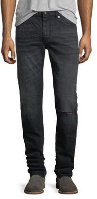 Saint Laurent Dirty-Wash Skinny Jeans with Ripped Knee