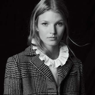 Sandro Long printed wool blend coat