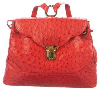 Judith Leiber Ostrich Flap Backpack