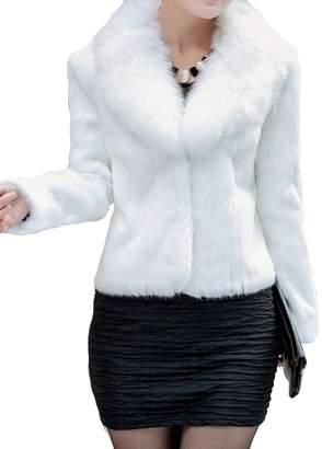 Helan Apparel Helan Women's Short Slim Faux Fox Collar and Faux Rabbit Fur Coat US