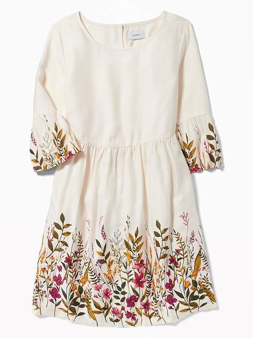 Fit & Flare Floral Bell-Sleeve Dress for Girls