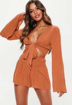 Missguided Rust Brown Shirred Waist Shorts