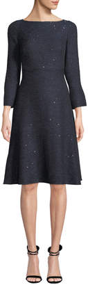 Lela Rose Boat-Neck Slit-Cuffs Fit-and-Flare Sequin Tweed Cocktail Dress