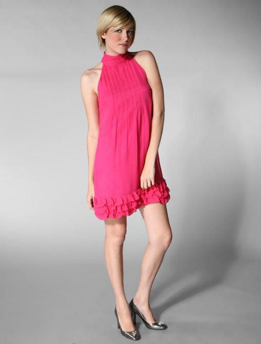 Tibi Short Sleeve Halter Dress in Poppy Pink