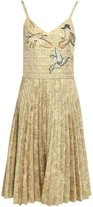 RED Valentino Appliqued Pleated Metallic Jacquard Dress