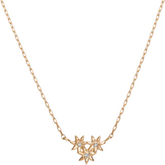 AUrate New York Flower Necklace Mini Pendant with Diamonds