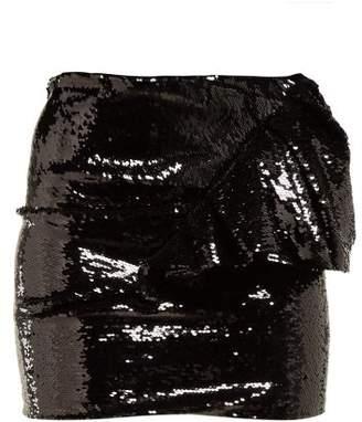 Alexandre Vauthier Ruffled Sequinned Mini Skirt - Womens - Black