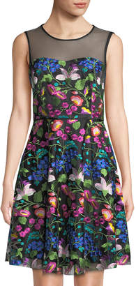 Tahari ASL Sleeveless Floral-Embroidered Mesh Fit-&-Flare Dress
