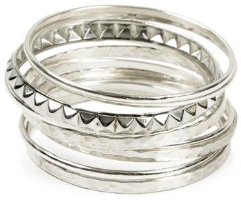 Silver Studded Bracelet Set