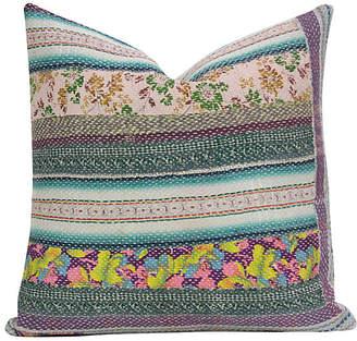 One Kings Lane Vintage Floral Bengal Kantha Pillow