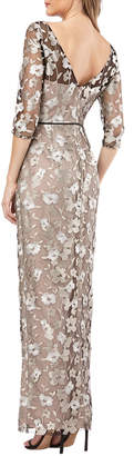 JS Collections Boat-Neck 3/4-Sleeve Floral-Embroidered Mesh Illusion Gown