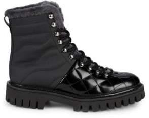 John Galliano Lamb Fur-Trim Leather Boots
