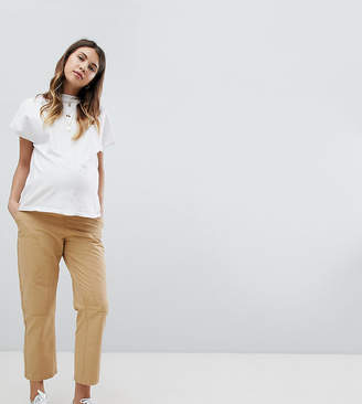 Asos DESIGN Maternity canvas cargo pants in sand with under the bump waistband