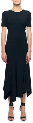 Victoria Beckham Short-Sleeve V-Back Asymmetric Dress