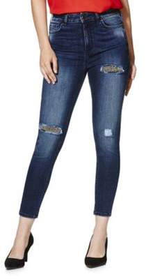 F&F Embellished Rip And Repair Mid Rise Skinny Jeans 14 Long leg