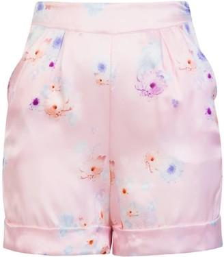 Sophie Cameron Davies Tailored Silk Short Pink Beach Flower