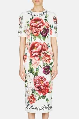 Dolce & Gabbana Dolce Gabbana Sleeved Sheath Rose Dress - Roseto