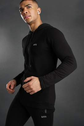 boohoo Active Zip Through Embroidered Gym Hoodie