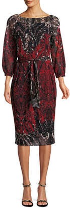 Fuzzi 3/4-Sleeve Belted Damask-Print Tulle Dress