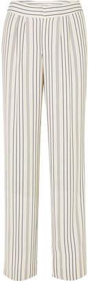 Frame Striped Crepe Straight-leg Pants - Cream