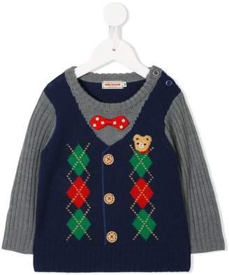Mikihouse Miki House argyle vest intarsia jumper