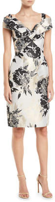 Jovani Metal Floral Off-Shoulder Sheath Dress
