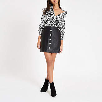 River Island Womens Black faux leather button front mini skirt