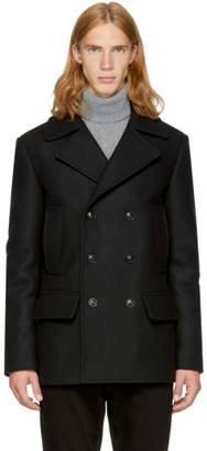 Versace Black Wool Double-Breasted Peacoat