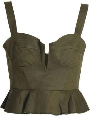 Nicholas Cropped Stretch-Cotton Twill Bustier Top