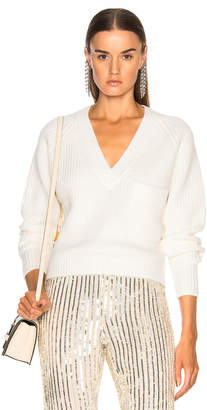 Chloé Chunky Rib Pocket V Neck Sweater