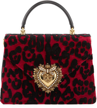 Dolce & Gabbana Welcome Velvet Leopard Top Handle Bag