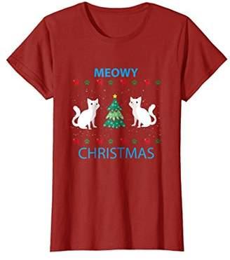 Meowy Christmas T-Shirt Cat Lover Tees