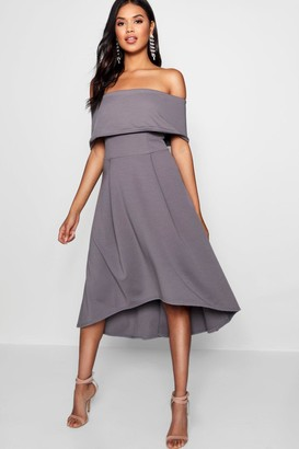 boohoo Rella Off The Shoulder Dip Hem Skater Dress