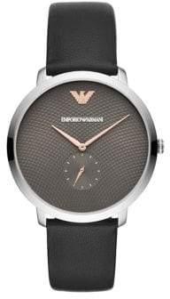 Emporio Armani Mens Three-Hand Black Leather Watch