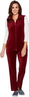 Denim & Co. Petite Active Vest and Pants Velour Set