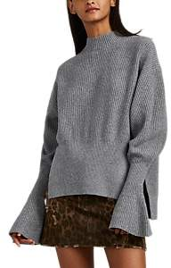 Alexander Wang Women's Wool-Blend Flounce-Sleeve Sweater - Dark Gray