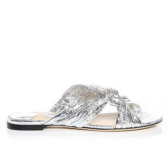 Jimmy Choo LELA FLAT Silver Metallic Foil Leather Mule Sandals