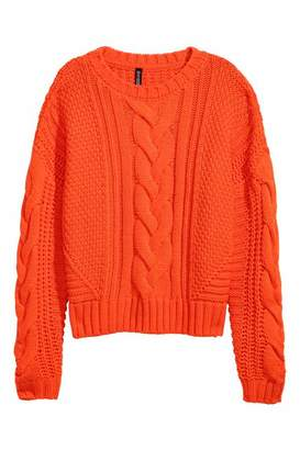 H&M Cable-knit Sweater - Orange - Women