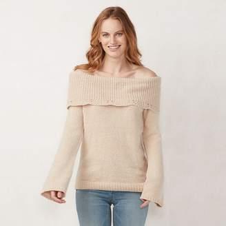Lauren Conrad Women's Off-the-Shoulder Chenille Sweater