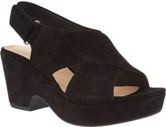 Clarks Artisan Leather Adjustable Wedge Sandals - Maritsa Lara