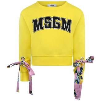 MSGM MSGMGirls Yellow Cropped Sweater