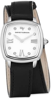David Yurman 'Albion' 27mm Leather Swiss Quartz Watch with Diamonds
