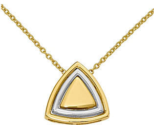 QVC 14K Two-Tone Satin Triangle Necklace, 3.5g