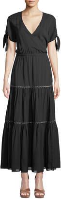 Jonathan Simkhai Wrap-Front Tiered Cutout Coverup Dress