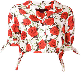 Alexander Wang cropped rose print blouse $495 thestylecure.com