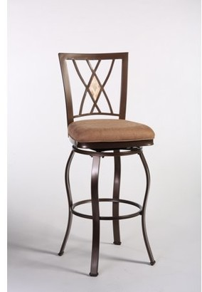 Hillsdale Furniture Brookside 24 in. Diamond Fossil Back Swivel Counter Stool - Brown Powder Coat
